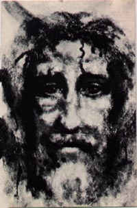 Suffering Face of Christ drawing based on Holy Shroud